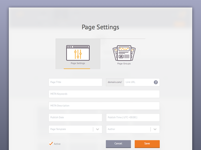 Page Settings selects title meta url groups page juicy form tab bar settings cms