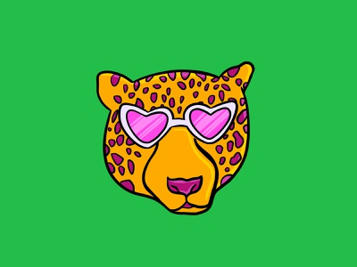 Sassy Cheetah cheetah illustration cheetah print sunglasses heart shaped sunglasses cheetah