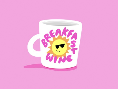 Breakfast Wine mug illustration illustration pink lettering sunshine mug wine breakfast