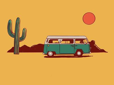 Desert Van art saguaro cactus dachshund illustrator volkswagon volkswagen van desert vagabond illustration