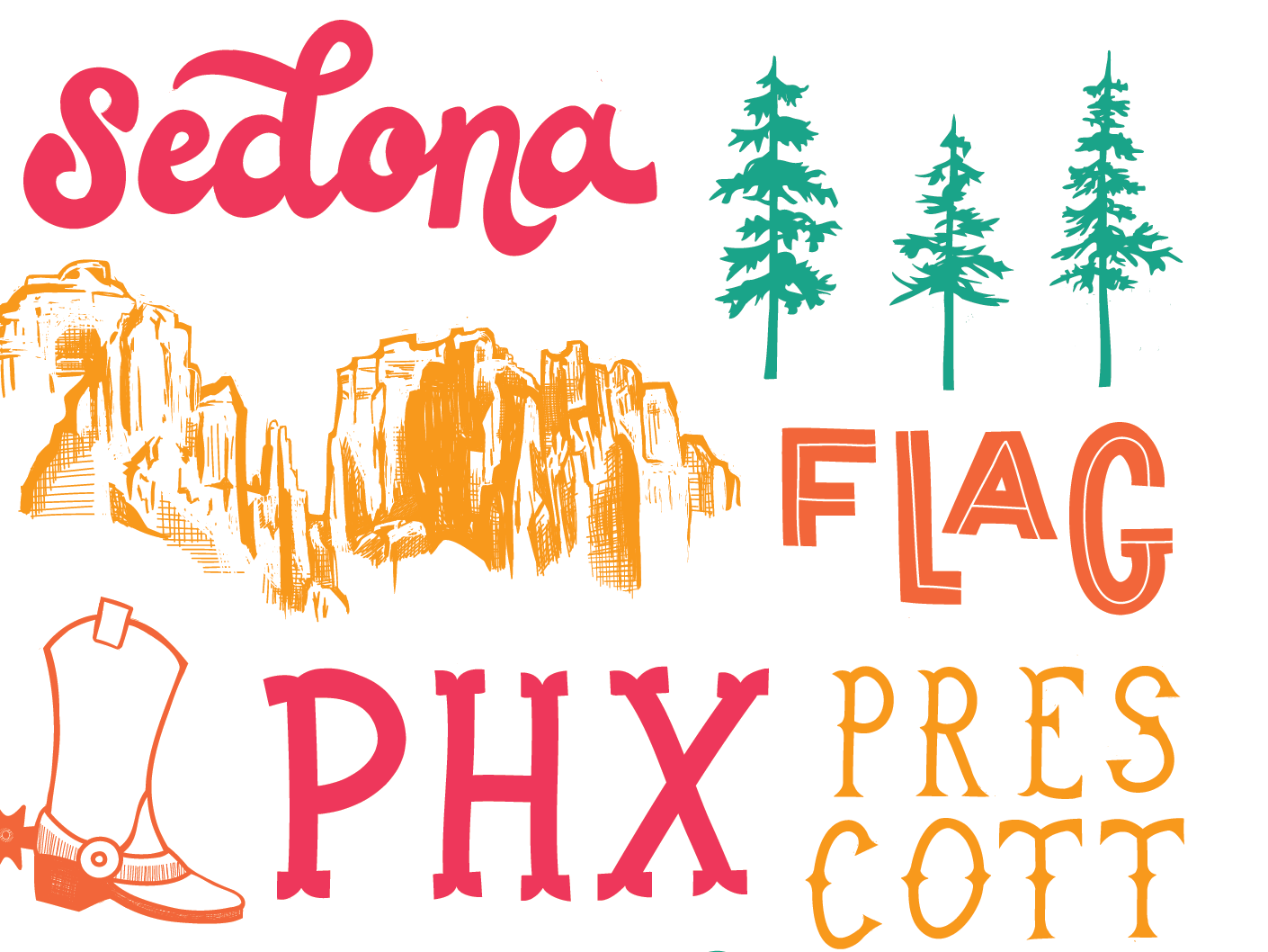 Arizona adobe illustrator adobe draw illustrator type hand lettering lettering az flagstaff west coast western west phoenix scottsdale sedona desert arizona typography vector design illustration