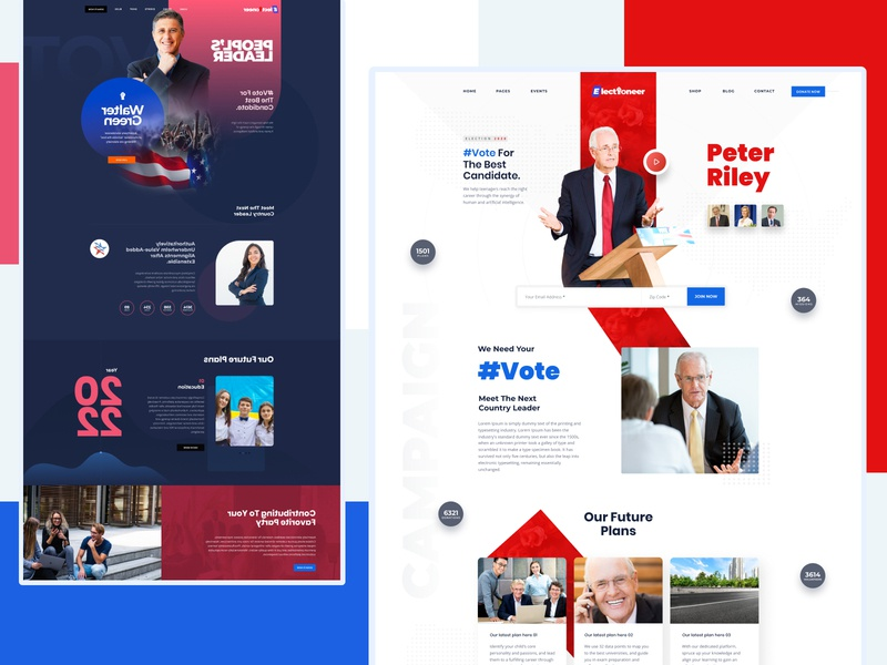 Electioneer: Web Template for Political Campaign web template ui kit website design political campaign graphic design landing page ui design website