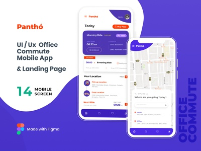 Panthó: Mobile UI Kit for Office Commute landing page design mobile app design cab booking app commute app landing page ui design ux design