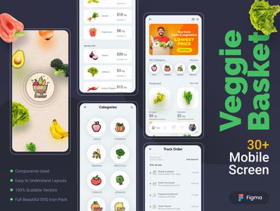 VeggieBasket: Mobile UI Kit for Online Groceries design ui landing page vegetables online shopping online grocery app mobile ui kit ux design ui design graphic design