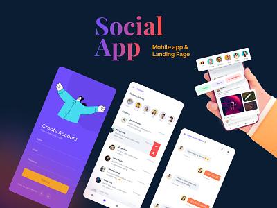 Sociama | Mobile App and Landing Page Figma Template social media design landing page design landing page ui mobile app design figma template