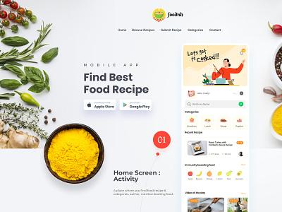 Foodish | Recipe App app design ui ux landing page design app design ui ux design landing page ui design