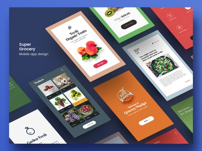 Super Grocery App Screens ux screen mockup screen design app user interface ui  ux ui logo marketing branding design graphic design