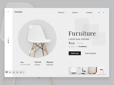 Furniture Shop uxdesign uidesign white landing page online shop online store ar app augmented reality website website design furniture furniture shop
