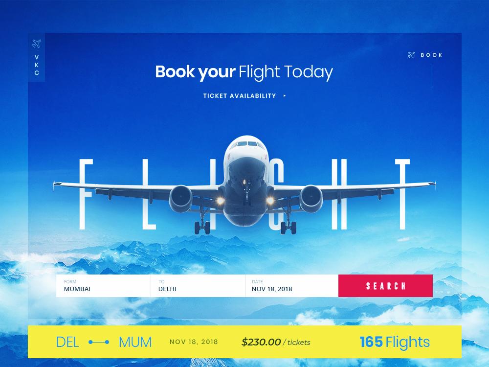 Typography on the Fly ux design ui design blue web app design website design flight booking typography