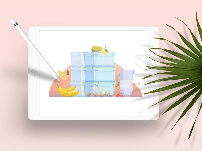 Plastic containers colorful branding adobe illustrator adobe photoshop digigtalart flatdesign graphicdesign illustration illustrator vector applepencil ipad leaf juicy fruits storage kitchen container plastic