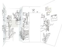 Medical illustrations scene