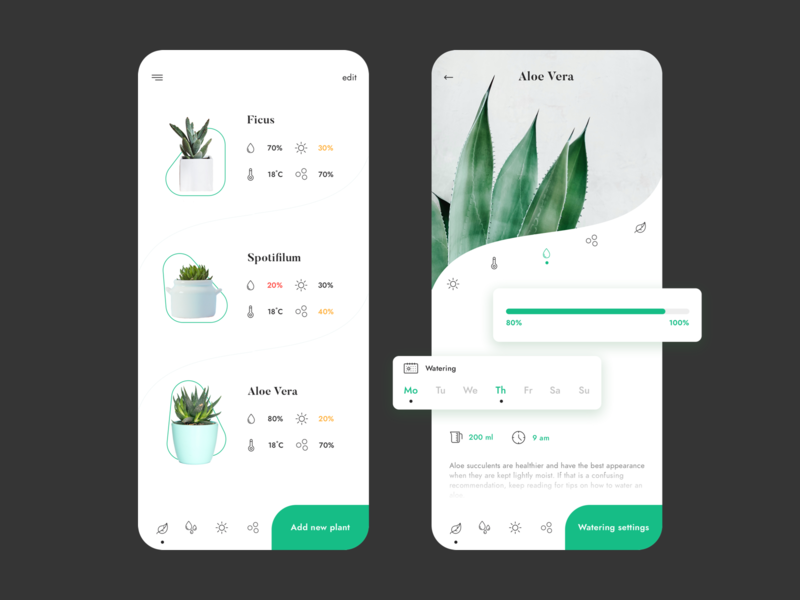 Plants smart monitor design flat clean white green technology vector dribbble apple smart app concept ux colors ui app