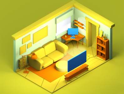 Room 3D ux cinema4d 3d web illustration