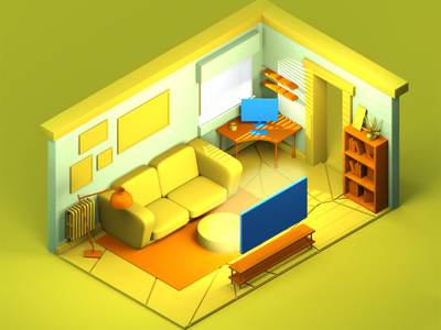 Room 3D ux cinema4d 3d web illustration