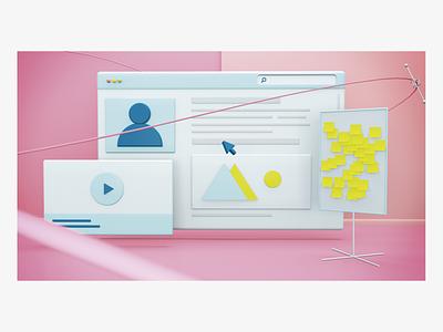 interfaz 3D cinema4d vector design ui 3d ux illustration
