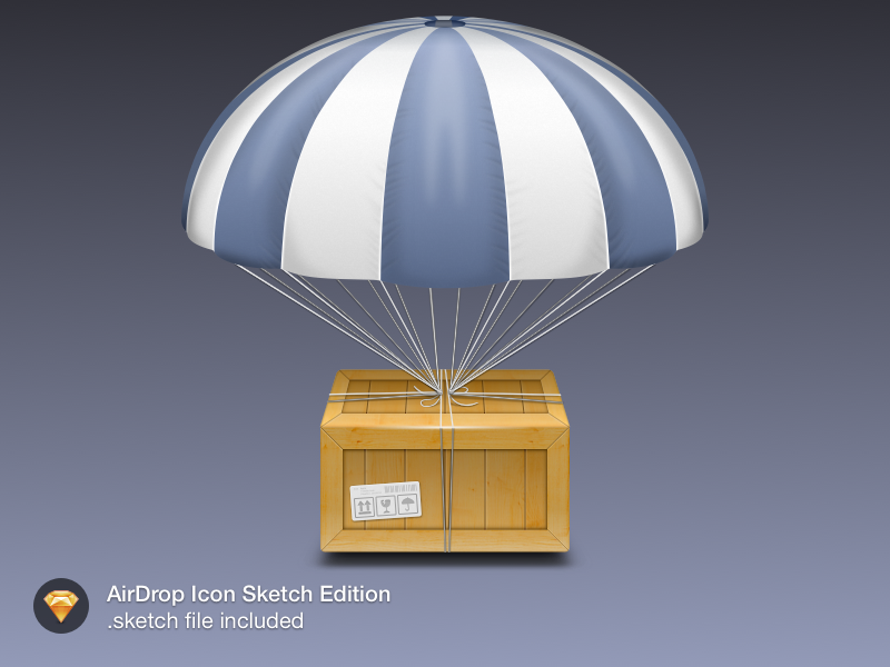 AirDrop Icon. mac icon airdrop sketch freebie goodie parachute crate