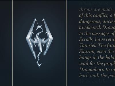 Skyrim logo metal dragon icon sign illustration logo skyrim