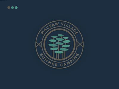 Camping Pin village tree identity logo pin icon camping macpaw