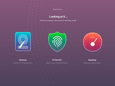 Cleanmymac X Smart Scan Window ux illustration design mac app icon macpaw