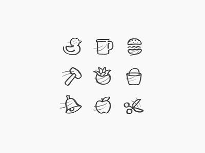 icon sketch burger apple duck sketch icon