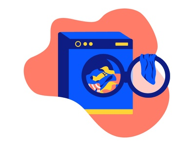 Washer Dryer clothes laundry dryer saving power environment energy electricity ecology 2d washer illustration