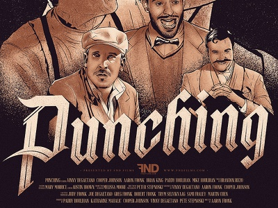 FND Films presents Punching illustration design typography gothic poster masthead ink drawing sean dockery fnd films movie poster pen and ink