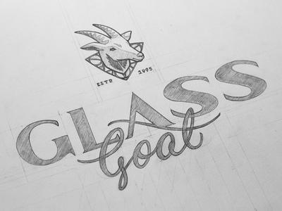Glass Goat Logo branding logo typography type lettering goat glass illustration stained glass