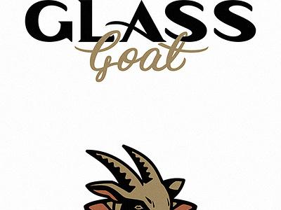 Glass Goat logo lettering type branding logo script goat farm hand drawn stained glass
