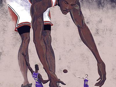 Jordan Vs. Stockton & Malone michael jordan sean dockery editorial drawing illustration basketball 23 jordan