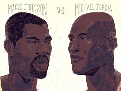 Magic Johnson Vs. Jordan sean dockery michael jordan magic johnson drawing editorial illustration basketball jordan