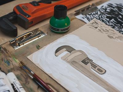 Ridgid Tools Illustration power tools sean dockery ink brush wrench ridgid typography lettering illustration