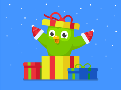 Duo Mittens sean dockery holidays christmas duo presents gift illustration duolingo