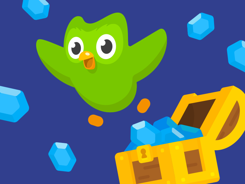 Gems! loot box learning language gems loot chest design illustration duo duolingo