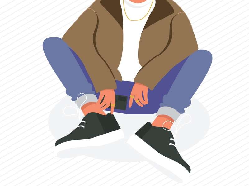 Oversized streetwear gold rings chain feet hands jacket shoes outfit simpel character minimal flat vector illustration graphics design simple graphic