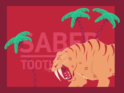 Saber tooth 01 sabermetrics palm trees teeth palm orange red monochrome minimal flat simpel vector illustration graphics design simple graphic lion head lion tiger sabertooth