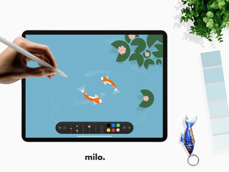 Koy pond cute green blue water flower apple pencil ipad graphics vector minimal flat illustration design simple graphic fish koypond koy koyfish
