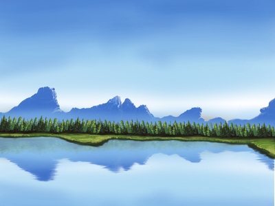 Trying out landscape landscapeart hills snowymountain snow grass sky forrest water mountain mountains landscape simpel minimal flat vector illustration design graphics simple graphic