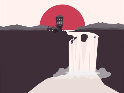 LANDSCAPE Red apacolypse destroyed broken castle castle mountains steam waterfalls waterfall simpel flat vector illustration graphics design simple graphic red grey landscape chinese