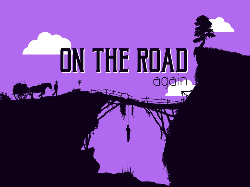 ROAD Again cave illustration design simple graphic character bushes spikes wooden bridge bridge on the road tree hanging rope hay horse black purple landscape choked