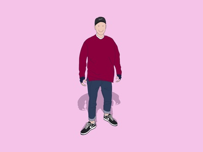 HAPPY me male character design vector style smiley smile simple pink nike minimal fashion illustration hat graphics gloves flat fashion design  draw design character air force