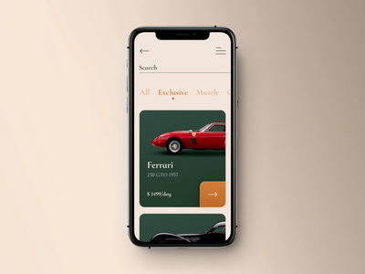 Car rental app concept app luxury rental rent car auto card animation