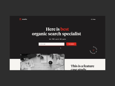 Corporate website for organic search specialists preloader loading homepage red corporate black  white interaction seo animation