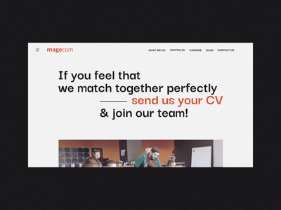 Magecom career page design minimalist corporate magento page career typography swiss interaction animation