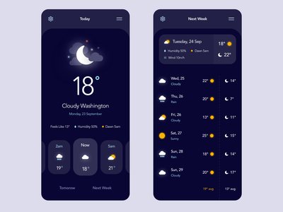 Weather Mobile App illustration minimal dark weather ux ui mobile
