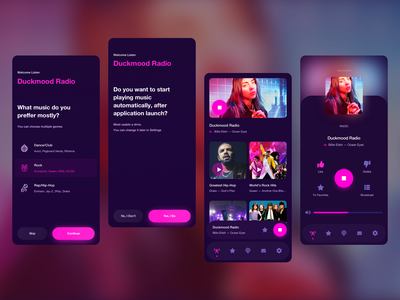 Online Radio Mobile App web gradient music player pink colors clean minimal dark music radio pleyer mobile ux ui