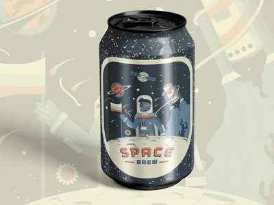 Space Brew can beer packaging label can design brewery brew space