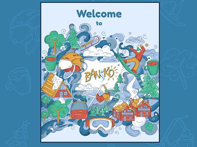 Ski and Snowboard Resort Illustration design colors mountain illustration resort snowboard ski winter