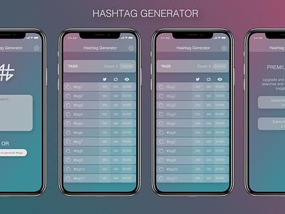 Hashtag generator app gradient mobile ui mobile app