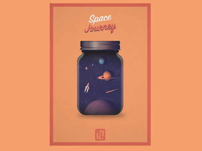 Space Journey poster spaceship stars planets jar space