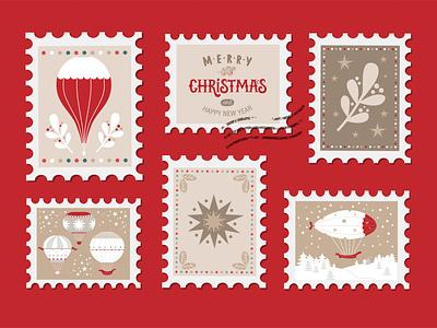 Christmas set 2020 new year balloon icon branding logo poster design christmas poster postcard post stamp flat design vector illustration typography